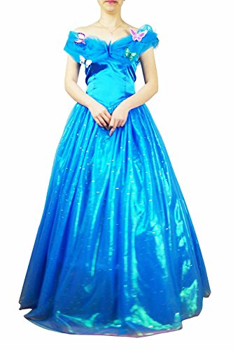 Blue Women Cinderella Cosplay Halloween Christmas Party Costume Dress Clothing