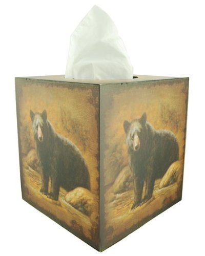 Black Bear Square Tissue Box Holder front-839385