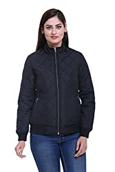 Trufit Full Sleeves Solid Women's Black Quilted Polyester Bomber Biker Jacket