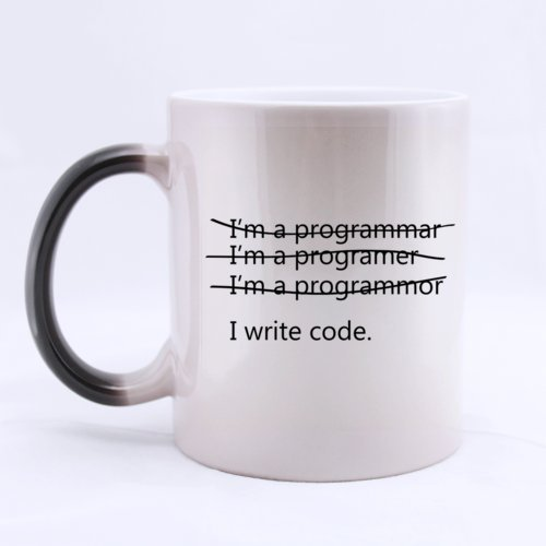 Funny Wrong I'm a programmer I write code Heat Sensitive Color Changing Mug Custom Ceramic Morphing Coffee/Tea Cup For Christmas Gift,Birtday Gift,New Year Gift