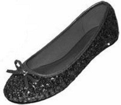 New Womens Sequins Ballerina Ballet Flats Shoes 4 Colors Available (7/8, Black Sequins 2001)