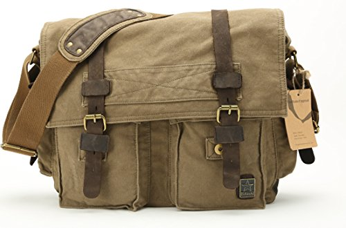 Sulandy@new Style Vintage Canvas Large Unisex Messenger Shoulder Bag Leather Trim School Military Shoulder Bag Messenger Bag