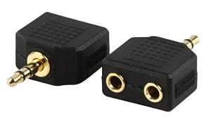 Adaptateur avec fiche Jack 3,5mm stéréo mâle ET fiche 2 x Jack 3,5mm stéréo femelle