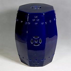 amazoncom octagonal cobalt blue ceramic garden stool