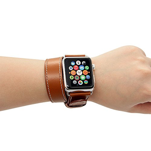 38mm Apple Watch Extra Long Genuine Leather Band - Double Tour Bracelet for Apple iWatch - Brown Mobile Bro Brown