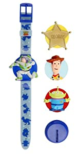 Toy Story Interchangeable Head Lcd Watch & Badgeclip