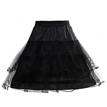 HIMRY Design en y sirène jupon jupon Crinoline jupon nuptiale de mariage, 1 cerceau 4 cerceau, noir, KXB-012-black