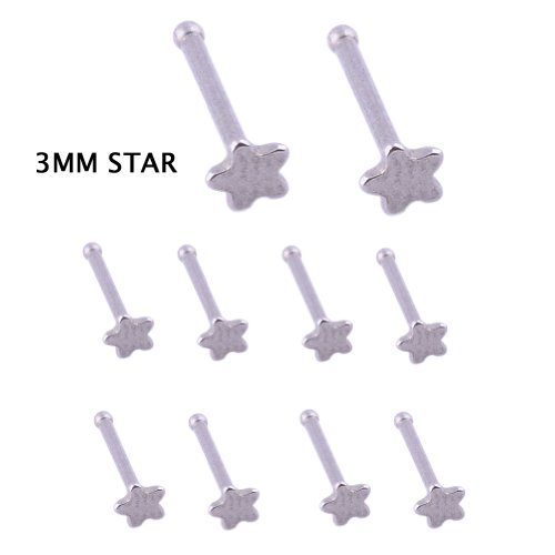 Kadima Body Piercing Jewelry Lots of 10pcs 20G Surgical Stainless Steel Star Nose Ring Stud