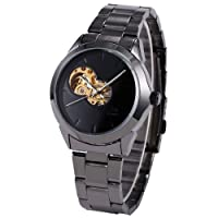 SHENHUA New Black Skeleton Mens Roman Cool Automatic Mechanical Steel Band Analog Watch PMW114