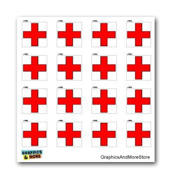 Red Cross On White - SET of 16 - Window Bumper Laptop Stickers more of me