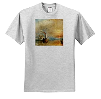 BLN Sailing Ships and Seascapes Fine Art Collection - The Fighting Temeraire tugged to her last Berth by J. M. W. Turner - T-Shirts - Adult Birch-Gray-T-Shirt XL
