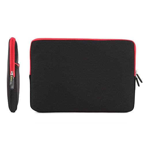 08. Evecase 17.3-Inch Ultra-Slim Neoprene Padded Sleeve Case Bag w/ Accessory Pocket for Laptop/Gaming Laptop/Notebook/Ultrabook (Black and RedTrim)