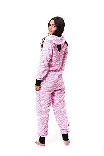 Totally Pink Women's Warm and Cozy Plush Onesie Pajama (Small, Pink Zebra)