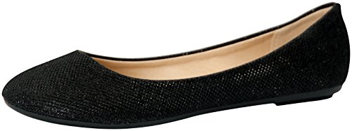 REFRESH DEMI-07 Women's Glitter Shinny Ballerina Ballet Slip On Flats, Color:BLACK, Size:9, Black, 9 B(M) US