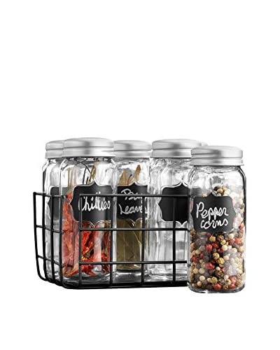 Home Essentials Set of 6 Country Chic Spice Jars & Rack, Clear