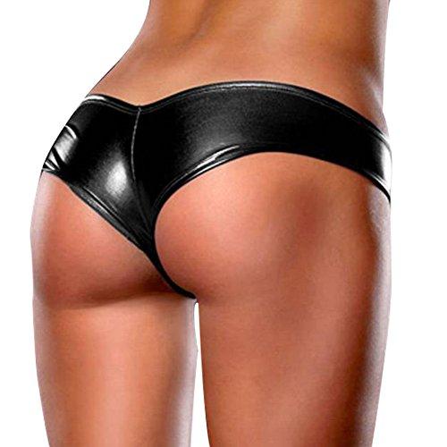 Tiaobug Damen Micro Hotpants Wetlook Slip Panty Lack Leder Look C-String Metallic Höschen
