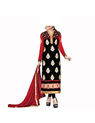 Admyrin Women's Black And Red Georgette Salwar Kameez