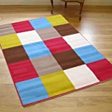 Modern Contemporary Multi Coloured Blocks Rug Pink Brown Blue Green Cream Kids & Teens