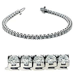 14k White Gold 5.00 Dwt Diamond Prong Set Tennis Bracelet - JewelryWeb