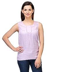 Kiosha Light Pink Linen Round Neck Top for Women