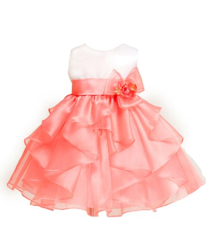Kid Collection Baby-Girls White/Coral Birthday Party Dress Size L