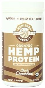 Manitoba Harvest Certified Organic Dark Chocolate Hemp Protein Powder, 16 Ounce Tub
