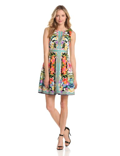 Maggy London Women's Mirror Print Fit And Flare Dress, Coral, 16