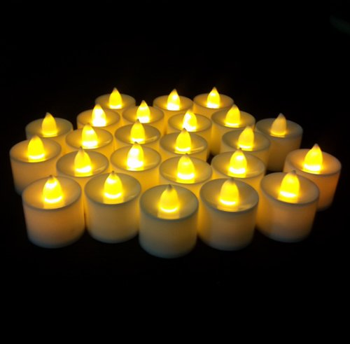 Samyo Set Of 24 Battery Flameless & Smokeless Led Tealight Candles - Yellow Candlelight