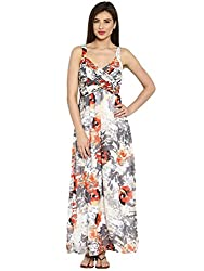 Ladybug Womens Pleated Georgette Maxi Dress- White Print