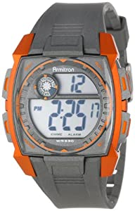 Armitron Men's 40/8282ORG Sport Square Metallic Orange Accented Grey Resin Strap Chronograph Digital Watch