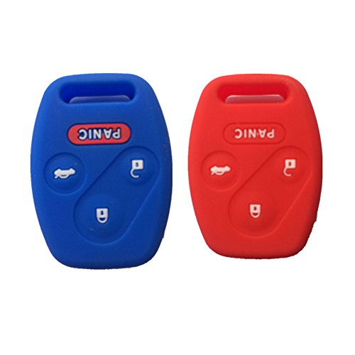Blue and Red Silicone Rubber Keyless Entry Remote Key Fob Case Skin Cover Protector for Honda 3+1 Buttons (2004 Honda Accord Key Cover compare prices)