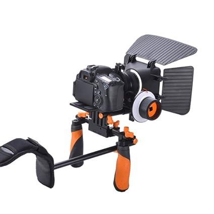 Apture - Pro DSLR Shoulder Rig Main Poignée + épaule Montage Rig + follow focus + matte box parasol + Plaque de Fixation Rapide Pour Appareil photo reflex numériques DSLR CDSLR DV Canon 550D 500D 600D 1100D 60D 50D 40D 5D 5DII 5DIII N