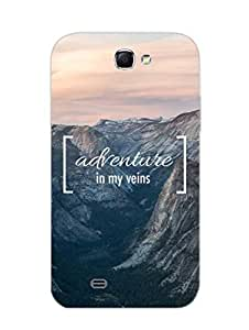 Adventure - Typography - Hard Back Case Cover for Samsung Note 2 - Superior Matte Finish - HD Printed Cases and Covers