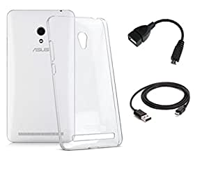 D'clair Combo of Transparent back Case cover with Usb Charging Cable and OTG Cable For Asus Zenfone 5