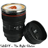 SahiBUY Camera Thermo Lens Travel Mug - Stainless Steel Insulated for Coffee and Refreshments (Black)
