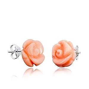 MATERIA Rosen Ohrrringe Koralle - 925 Silber Rosen Ohrstecker aus echter Koralle orange rosa inkl. Schmuck Box #SO-109