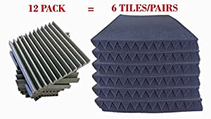 [Mybecca] 6 PACK Acoustic Wedge Soundproofing for Studio & Youtube Recording Wall Tiles 12 X 12 X 2 inch, Made in USA