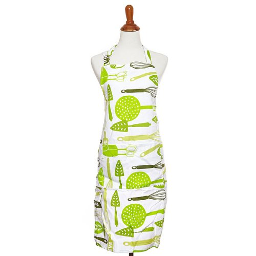 The Kosher Cook KCKH4017P 1-Piece 100-Percent Cotton Apron with Kitchenworks Design for Pareve Makes, Full, Green