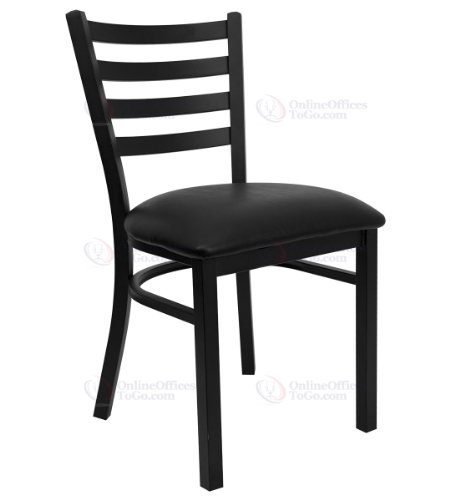 цена на HERCULES Series Black Ladder Back Metal Restaurant Chair with Black Vinyl Seat