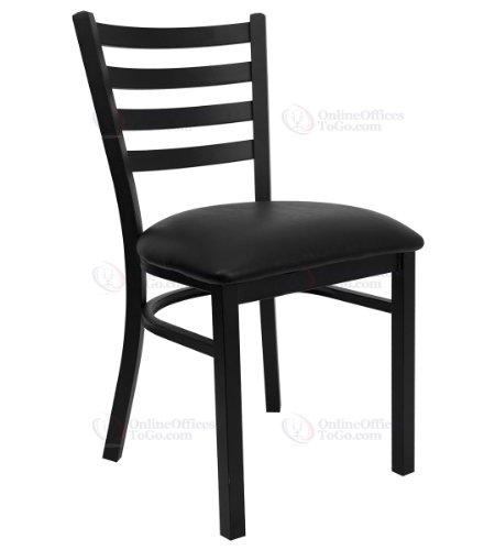 HERCULES Series Black Ladder Back Metal Restaurant Chair with Black Vinyl Seat