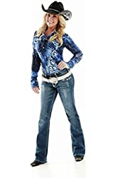 Cowgirl Tuff Womens Jeans Don't Fence Me In Crystal Med Wash JCRSYL