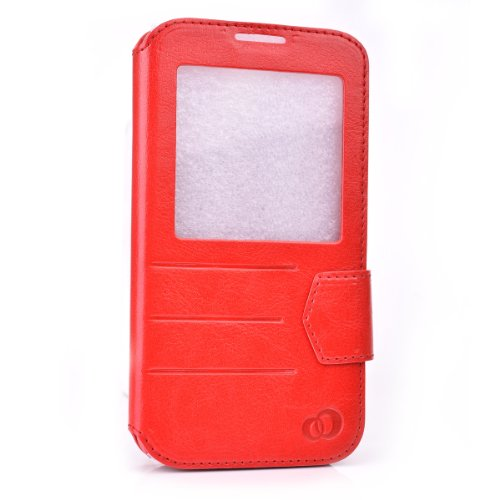 Kroo Slim S-View Folio Flip Case for Samsung Galaxy S5 with Flap - Non-Retail Packaging - Red