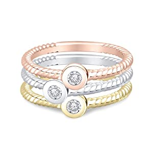 Willow Gold 14k Gold Twist Diamond Rings, Rose Gold