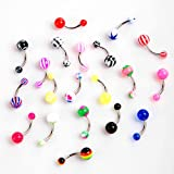 TOMTOP 20pcs Colorful Stainless Steel Ball Barbell Curved Navel Belly Button Rings Bars Piercing