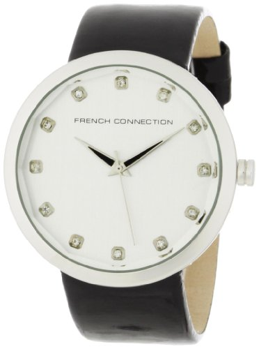 French Connection Women's FC1006GR Stainless Steel Grey Leather Strap Watch