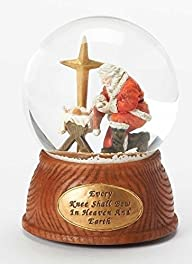 5.5″ Bowing Santa Glitter Dome 100mm Wind Up Every Knee Shall Bow Plays Oh Holy Night by Roman