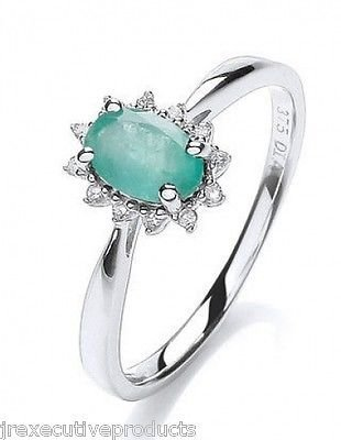 J R Jewellery 440751 White Gold Real Emerald Oval Ring With Diamond Surround