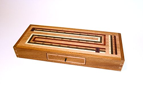 Cribbage board with 4 track continuous design in Mahogany and Cherry wood