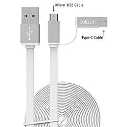 Tukzer 3.2ft / 1mtr Premium 2in1 Duo TYPE-C & MICRO USB High Speed Charge & Sync, Tangle Free, Reversible Design Flat cable [WHITE]