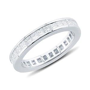 14K White Gold Princess Cut Channel Set Eternity Wedding Band